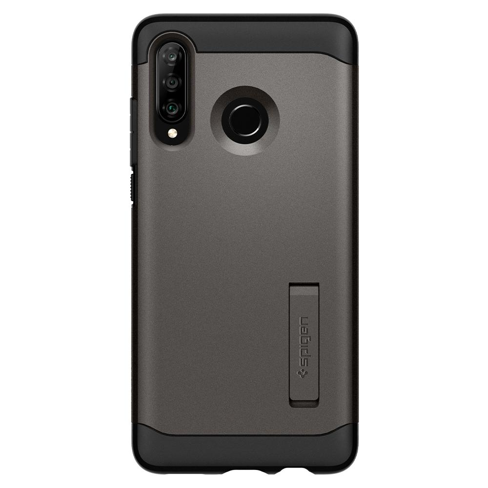 Slim Armor	Gunmetal	Case	facing backwards showing the back design with the camera cutout on the	Spigen HUAWEI P30 lite/nova 4e	device.