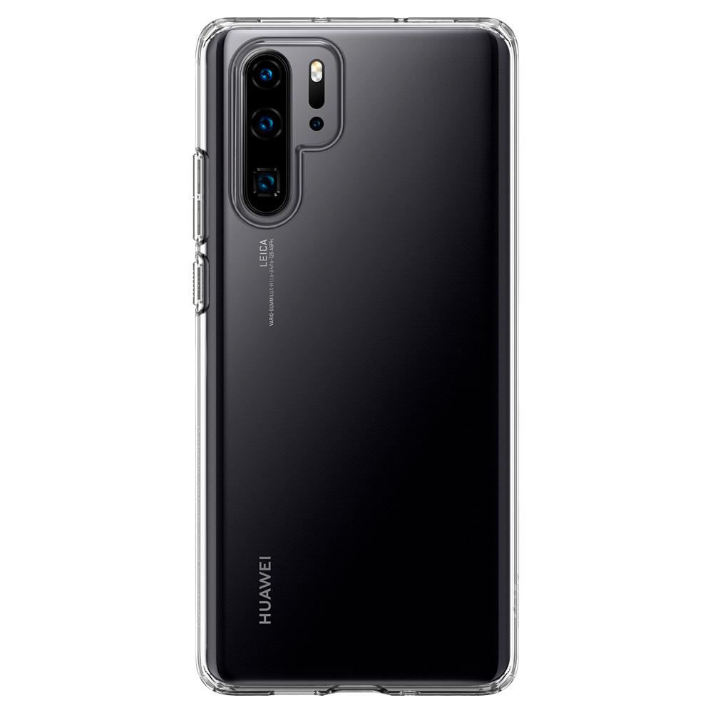 Liquid Crystal	Crystal Clear	Case	facing backwards showing the back design with the camera cutout on the	HUAWEI P30 Pro	device.