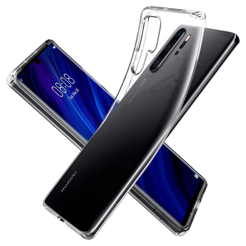 Liquid Crystal	Crystal Clear	Case	back design overlapping the front view of the	HUAWEI P30 Pro	device.