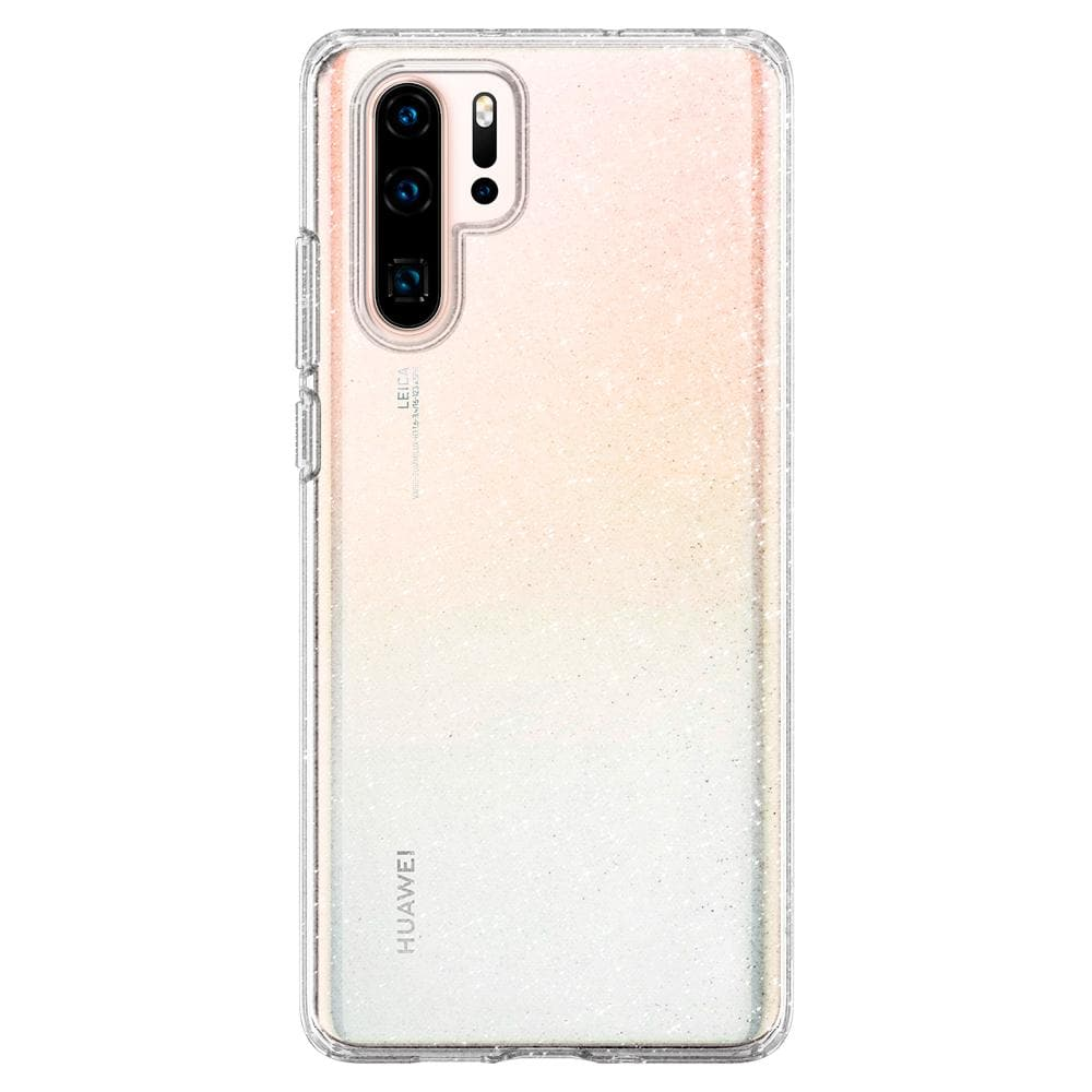 Liquid Crystal Glitter	Crystal Quartz	Case	facing backwards showing the back design with the camera cutout on the	HUAWEI P30 Pro	device.