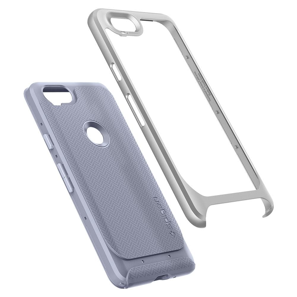 Neo Hybrid	Kinda Blue Case	separated showing the outer PC layer, the inner TPU layer and the	Pixel 2	device.