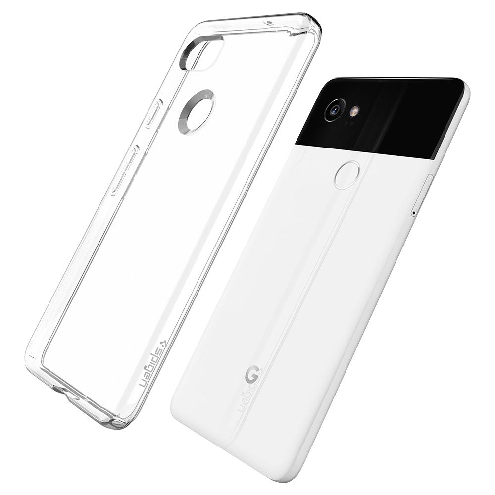 Liquid Crystal	Crystal Clear	Case	back design and a back view of the	Pixel 2 XL	device.