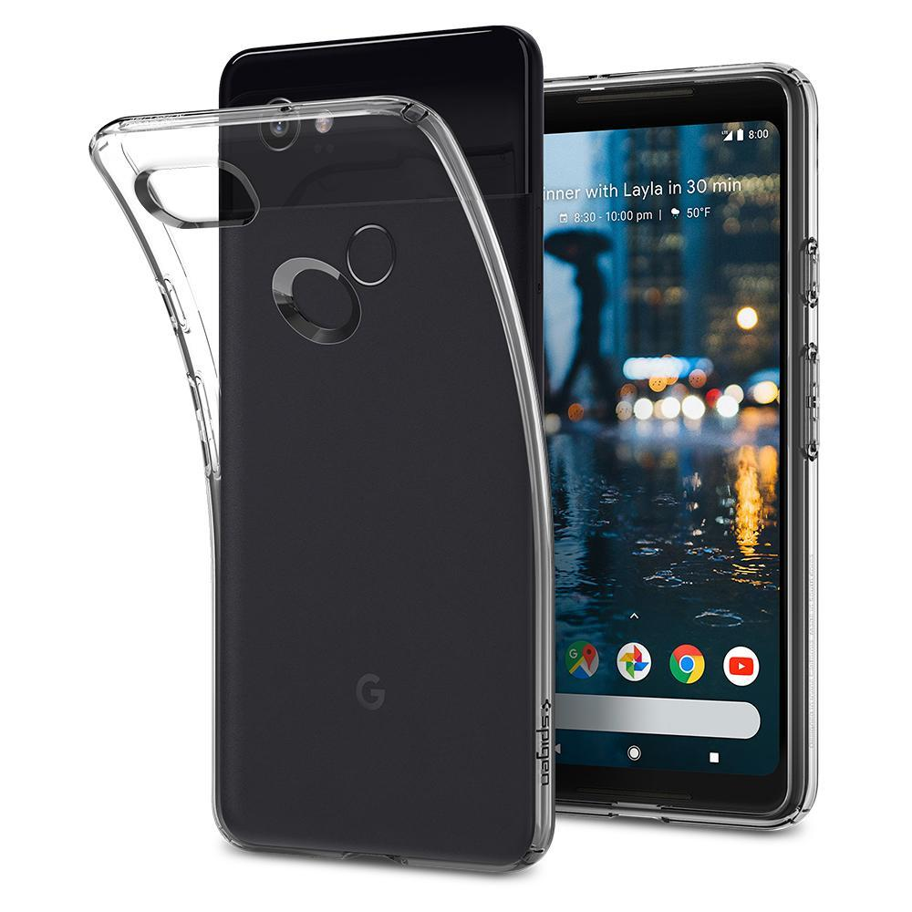 Liquid Crystal	Crystal Clear	Case	back design and a front view of the edge around the	Pixel 2 XL	device.