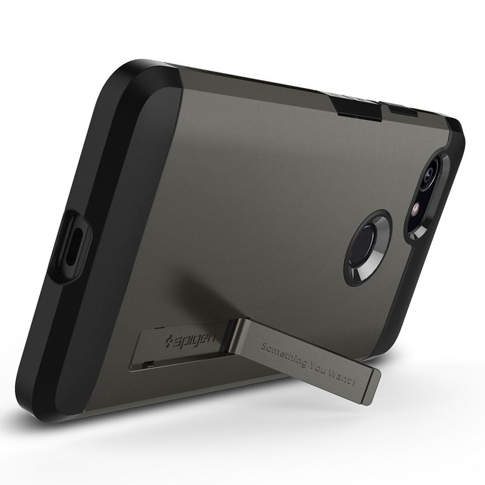 Tough Armor	Gunmetal Case	angled backwards showing the back design focusing on the kickstand feature	Pixel 2 XL	device.