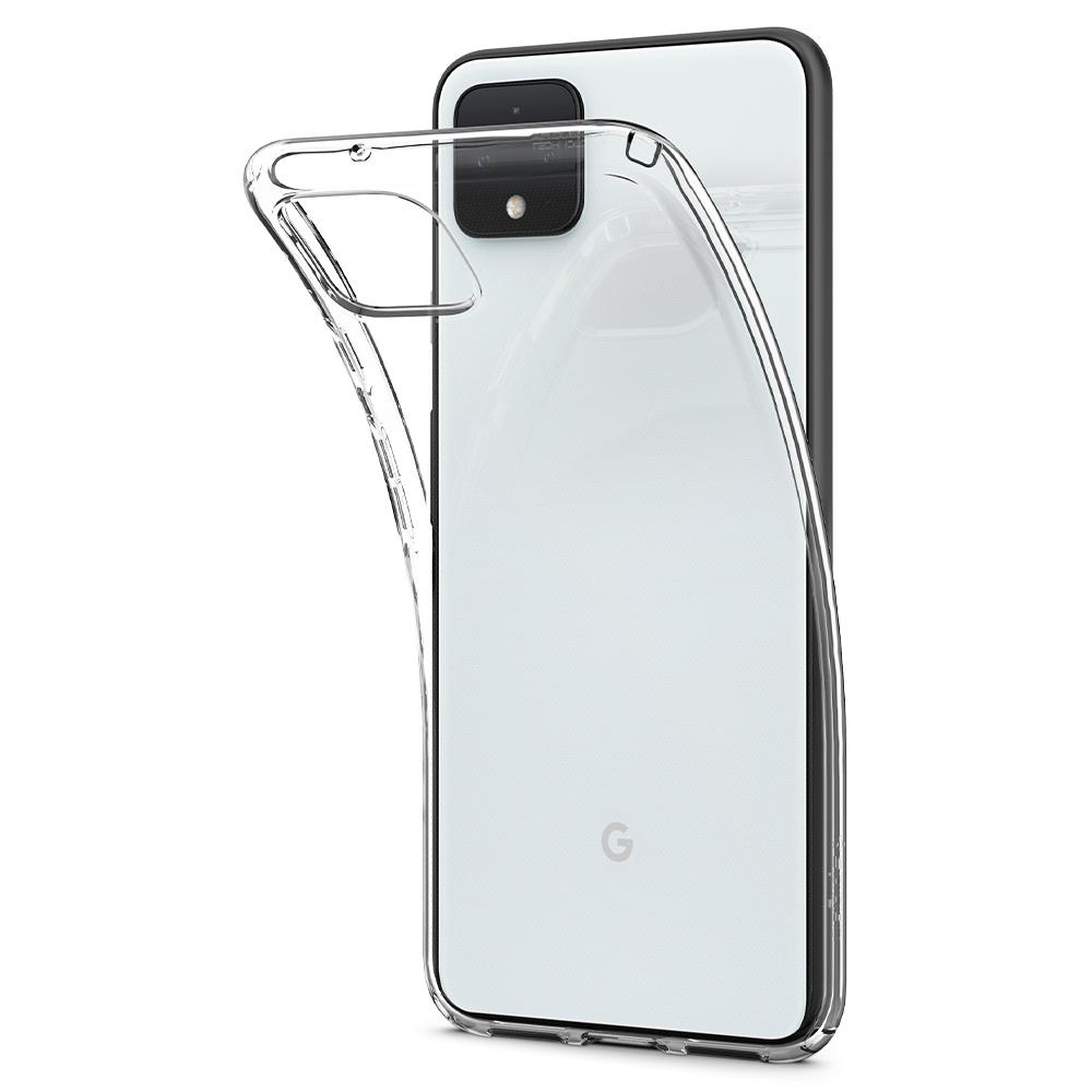 Liquid Crystal	Crystal Clear	Case	attached and bending away from the	Pixel 4	device.