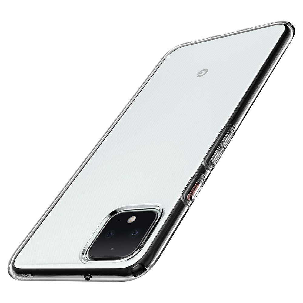 Liquid Crystal	Crystal Clear	Case	showing the back design on the	Pixel 4	device.