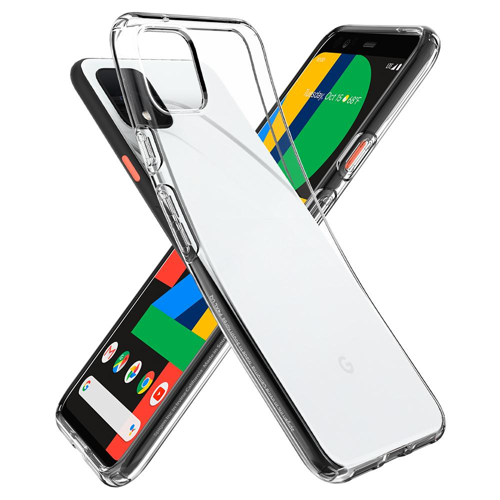 Liquid Crystal	Crystal Clear	Case	back design overlapping the front view of the	Pixel 4	device.