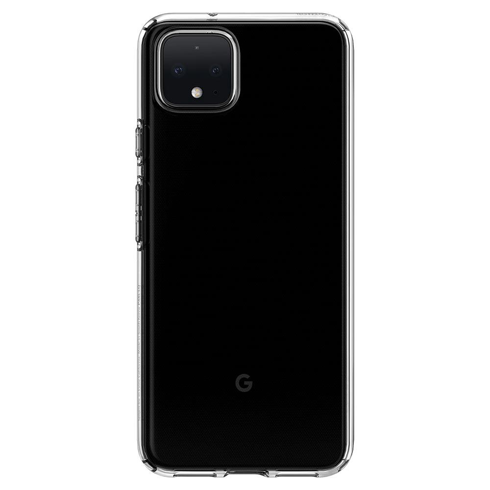 Liquid Crystal	Crystal Clear	Case	facing backwards showing the back design with the camera cutout on the	Pixel 4	device.