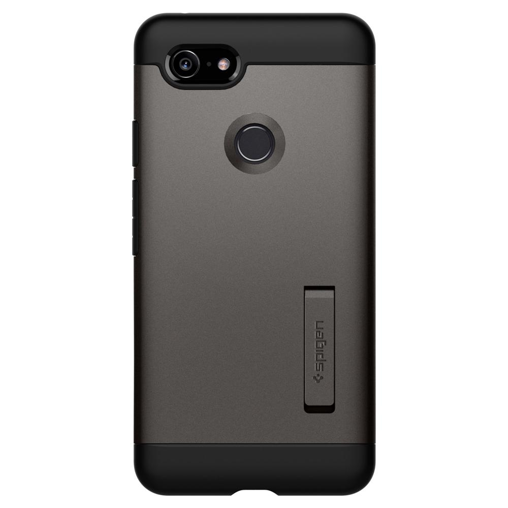 Slim Armor	Gunmetal	Case	facing backwards showing the back design with the camera cutout on the	Pixel 3	device.