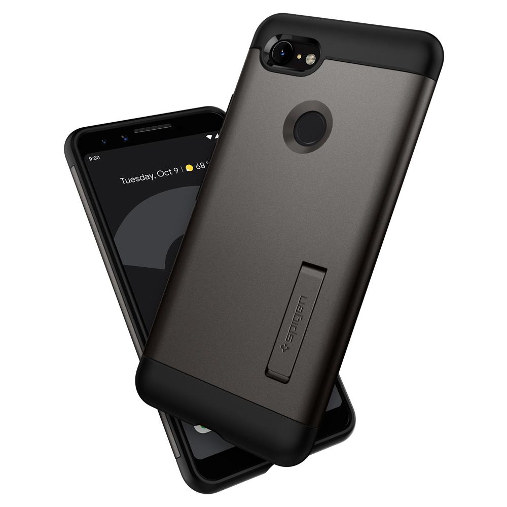 Slim Armor	Gunmetal	Case	back design overlapping the front view of the	Pixel 3	device.