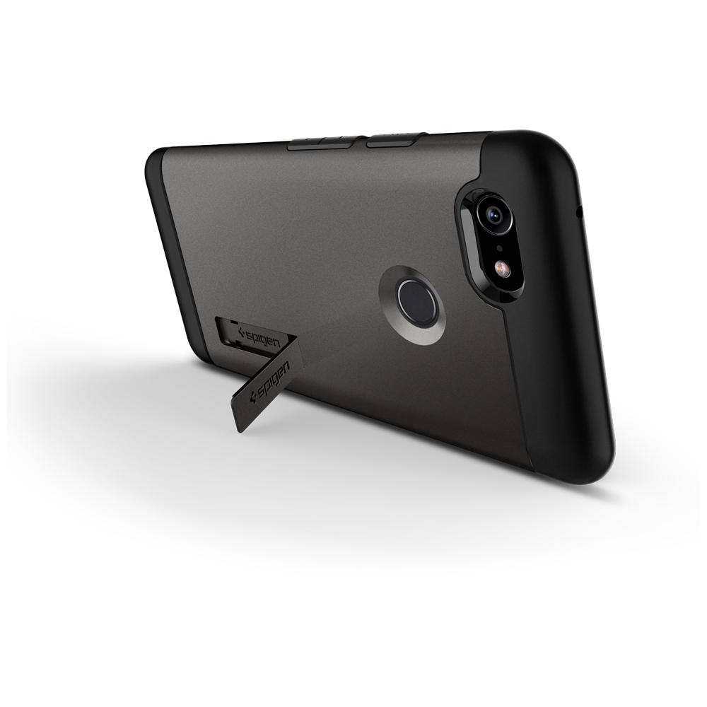 Slim Armor	Gunmetal	Case	angled backwards showing the back design focusing on the kickstand feature	Pixel 3	device.