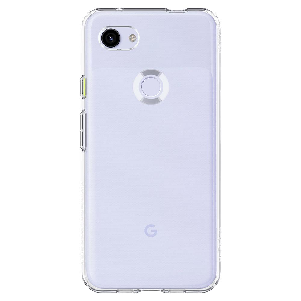 Liquid Crystal	Crystal Clear	Case	facing backwards showing the back design with the camera cutout on the	Pixel 3a	device.