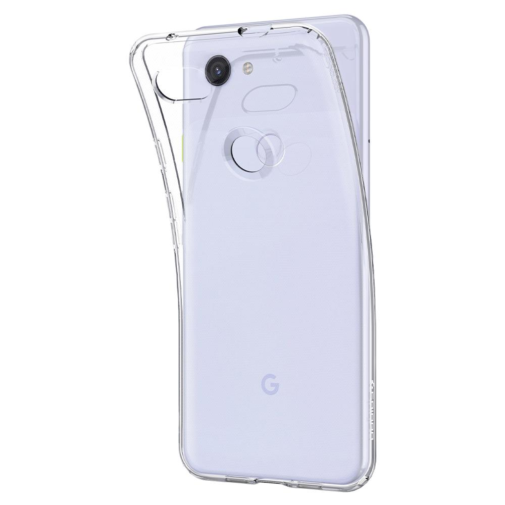 Liquid Crystal	Crystal Clear	Case	attached and bending away from the	Pixel 3a	device.