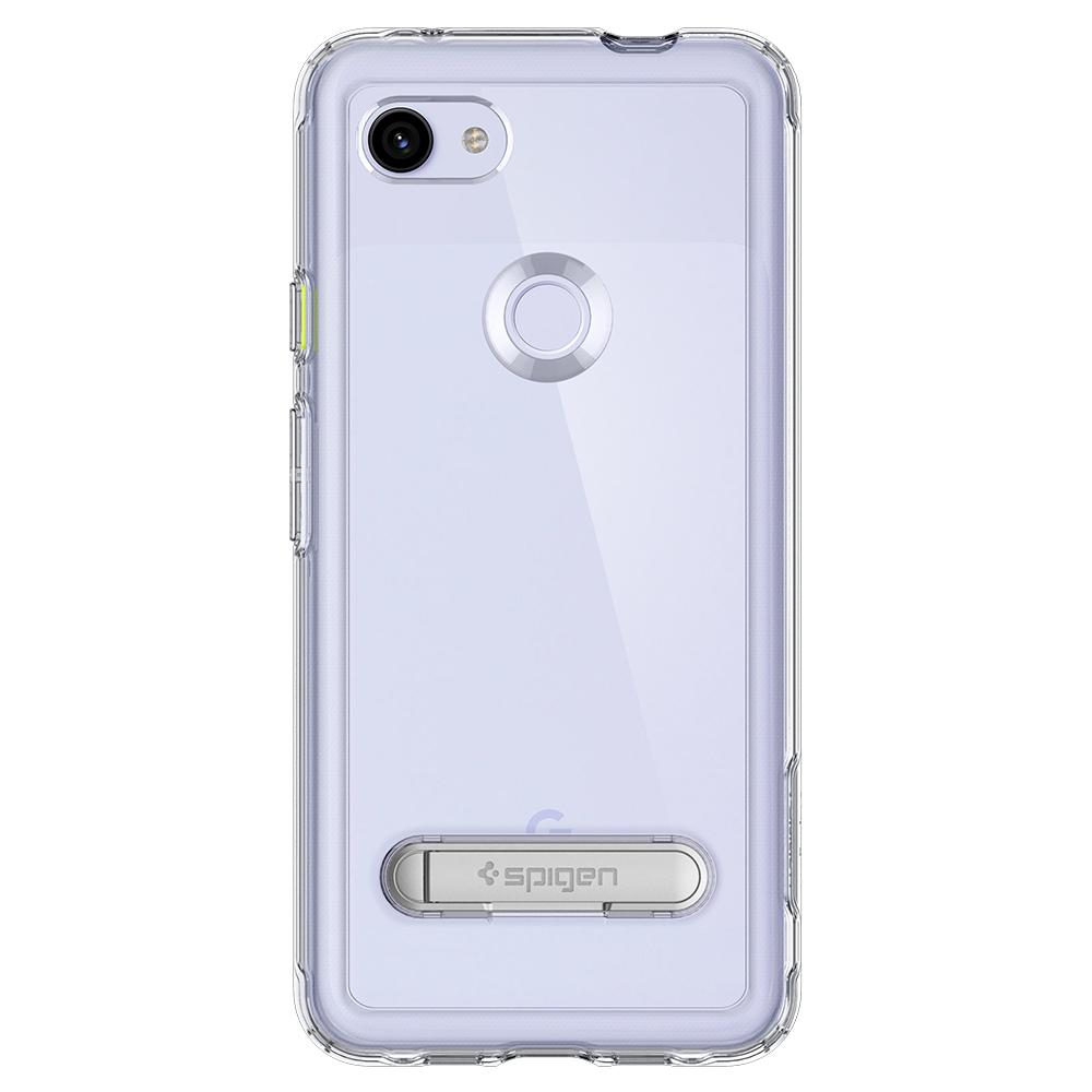 Slim Armor Crystal	Crystal Clear	Case	facing backwards showing the back design with the camera cutout on the	Pixel 3a	device.