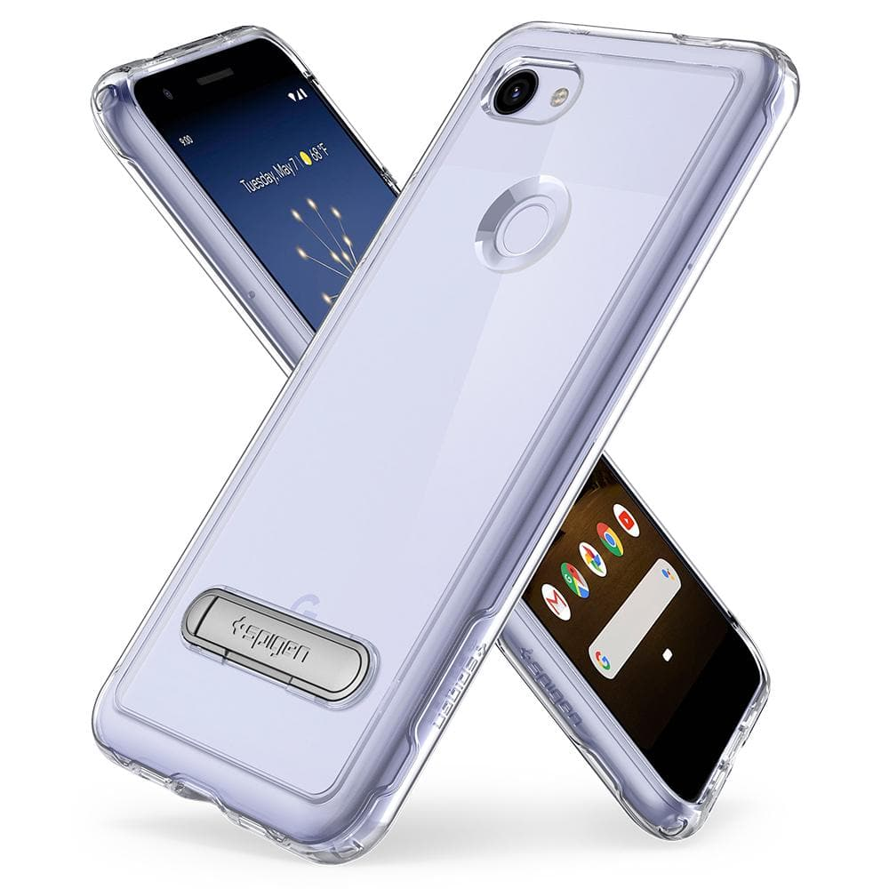 Slim Armor Crystal	Crystal Clear	Case	back design overlapping the front view of the	Pixel 3a	device.