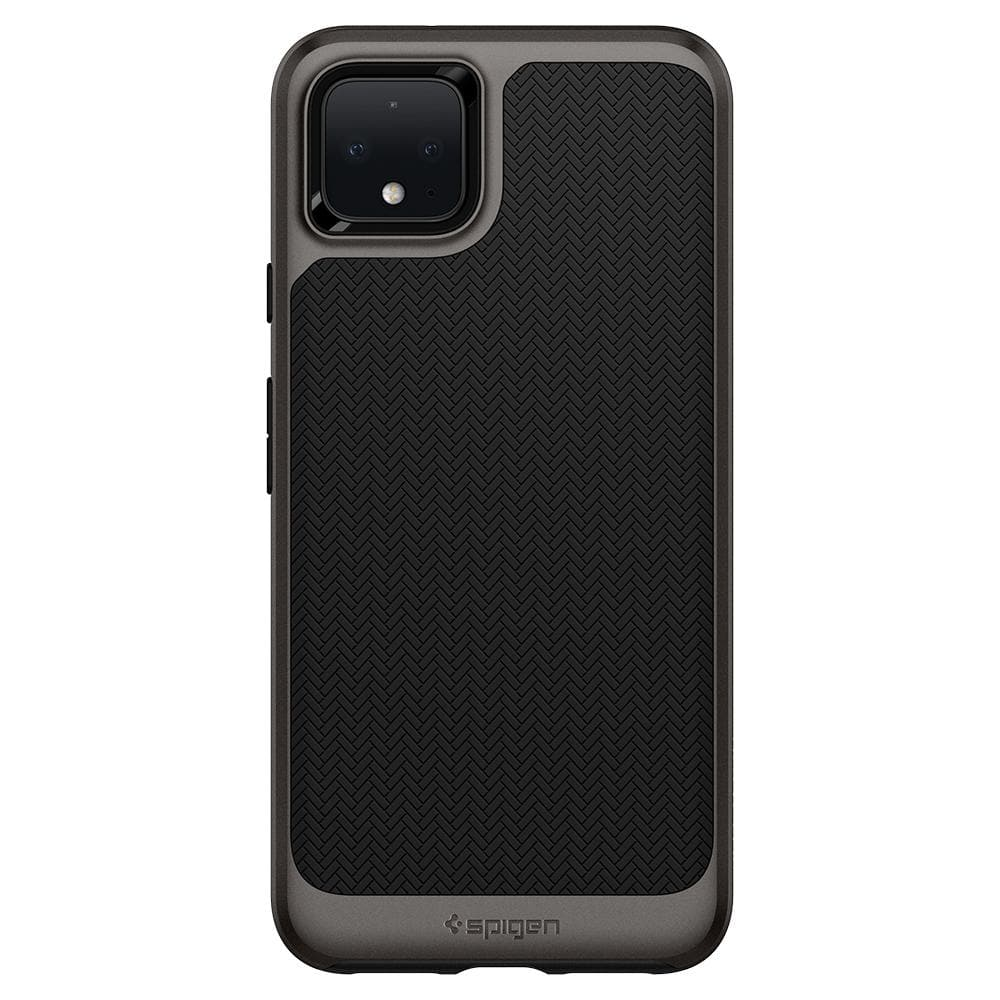 Neo Hybrid	Gunmetal	Case	facing backwards showing the back design with the camera cutout on the	Pixel 4	device.