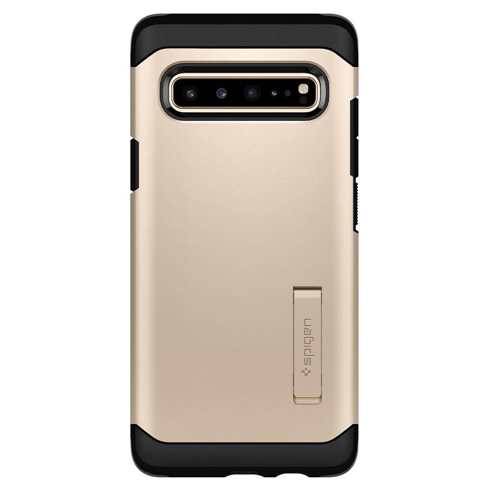Tough Armor	Royal Gold Case	facing backwards showing the back design with the camera cutout on the	Galaxy S10 5G	device.
