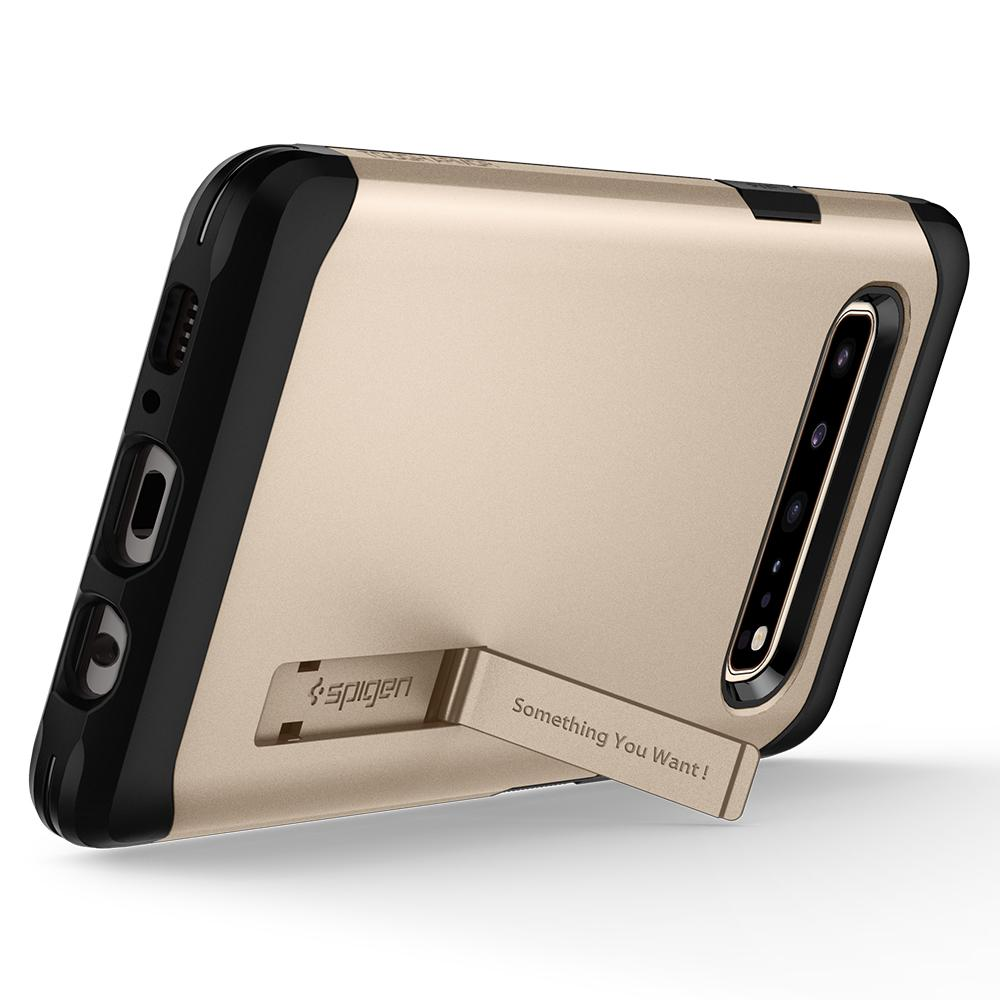 Tough Armor	Royal Gold Case	angled backwards showing the back design focusing on the kickstand feature	Galaxy S10 5G	device.