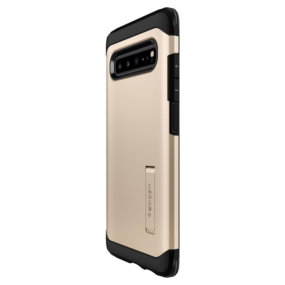 Tough Armor	Royal Gold Case	showing the back design on the	Galaxy S10 5G	device.