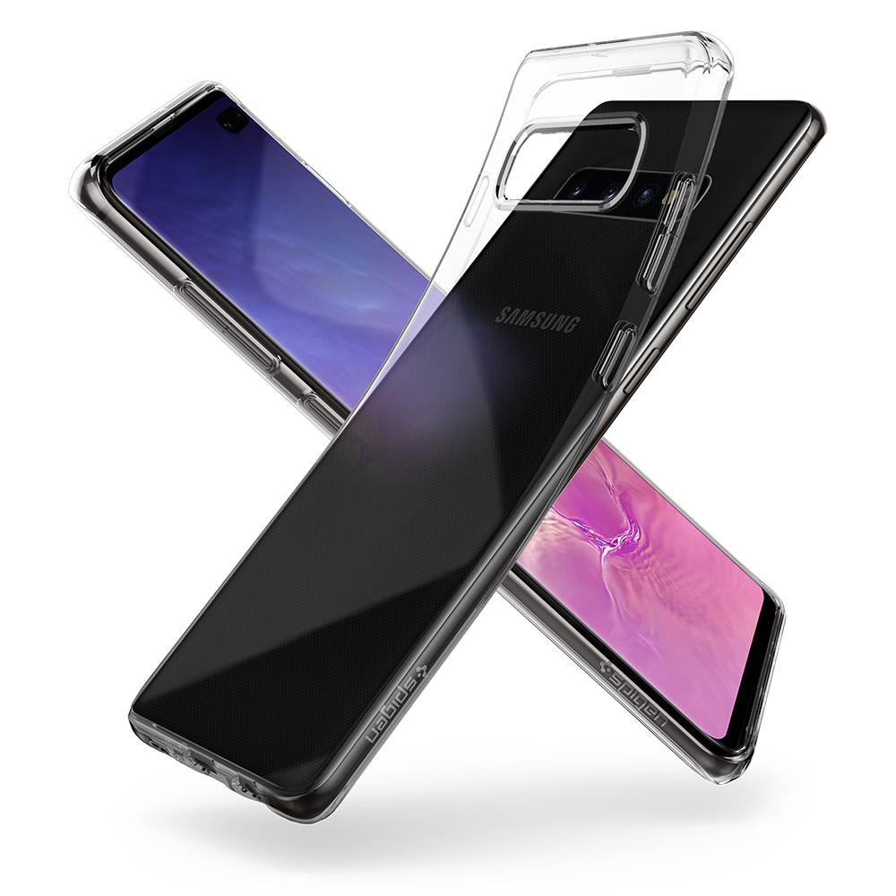 Liquid Crystal	Crystal Clear	Case	back design overlapping the front view of the	Galaxy S10+	device.