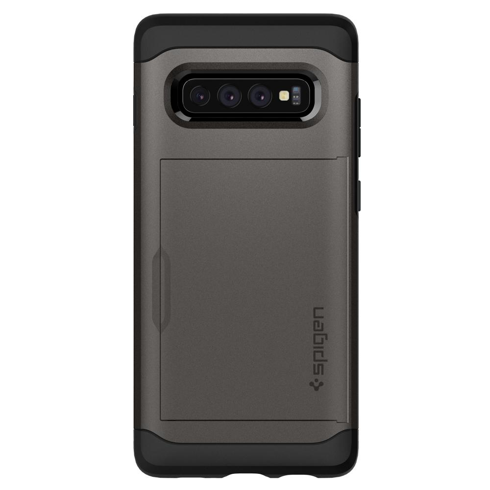 Slim Armor CS	Gunmetal Case	facing backwards showing the back design with the camera cutout on the	Galaxy S10+	device.
