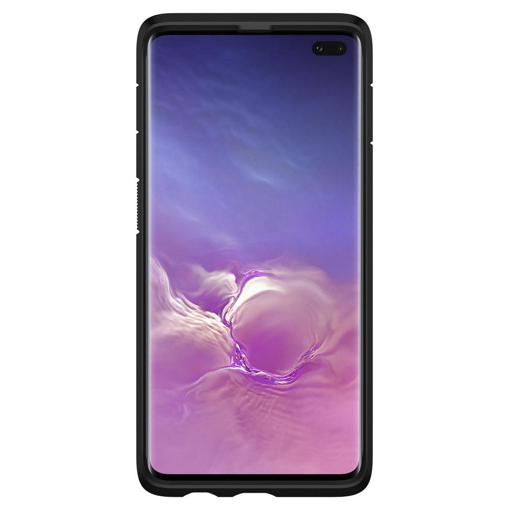 Tough Armor	Black Case	showing a front facing view of the edges around the	Galaxy S10+	device.