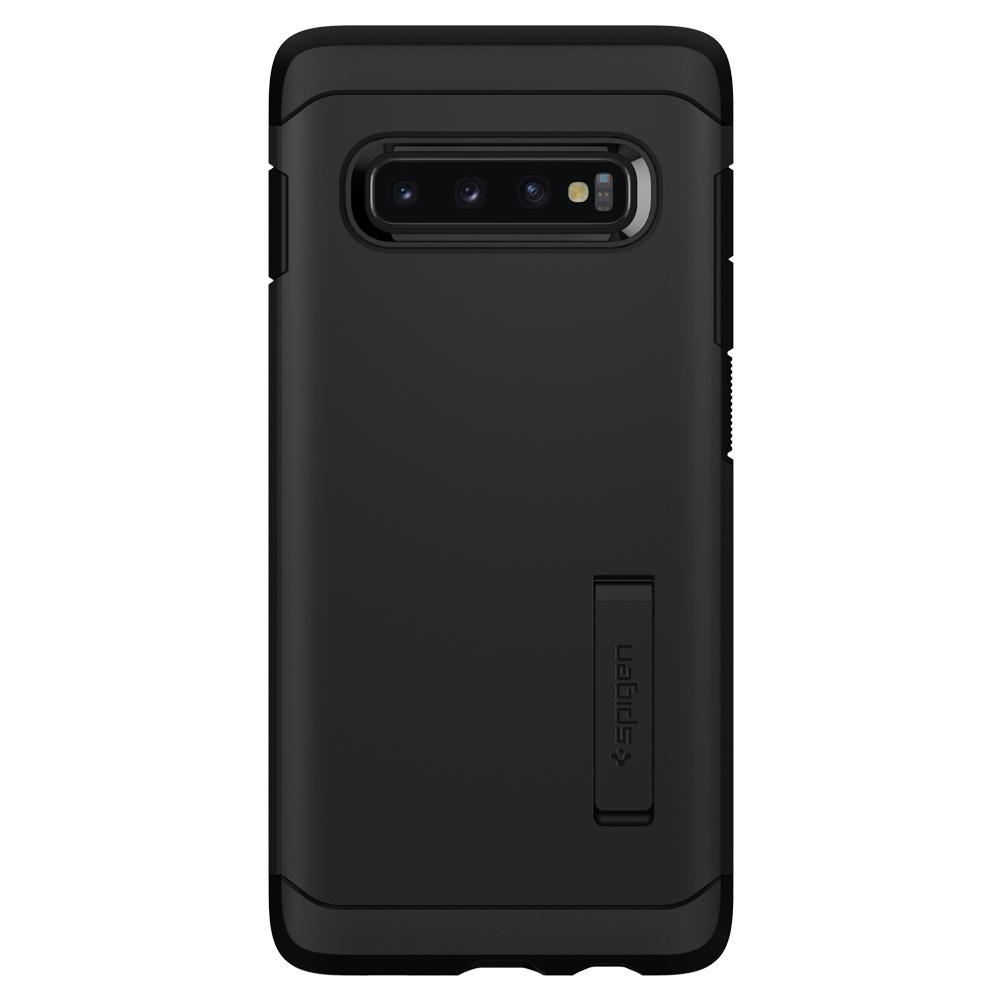 Tough Armor	Black Case	facing backwards showing the back design with the camera cutout on the	Galaxy S10+	device.