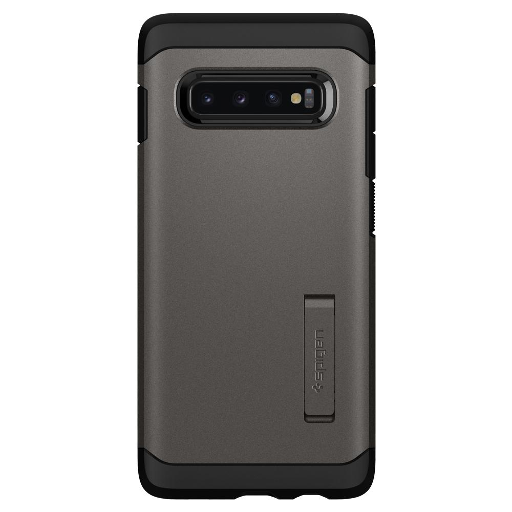 Tough Armor	Gunmetal	Case	facing backwards showing the back design with the camera cutout on the	Galaxy S10+	device.