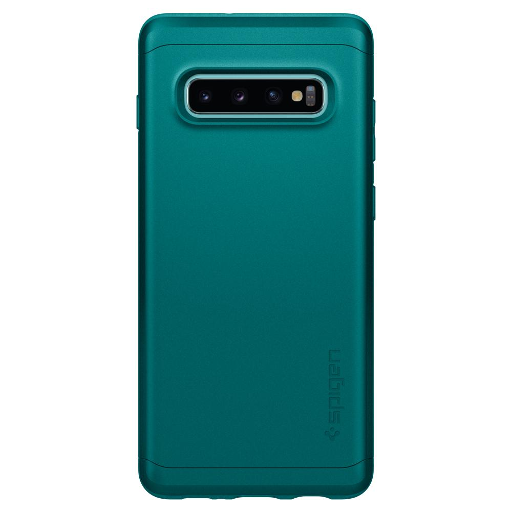 Thin Fit Classic	Green Case	facing backwards showing the back design with the camera cutout on the	Galaxy S10+	device.