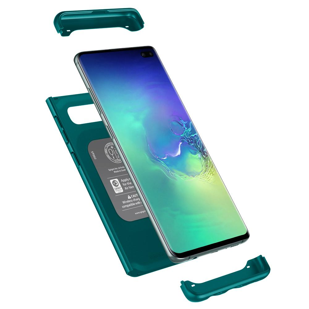Thin Fit Classic	Green Case	separated showing the outer PC layer and the	Galaxy S10+	device.