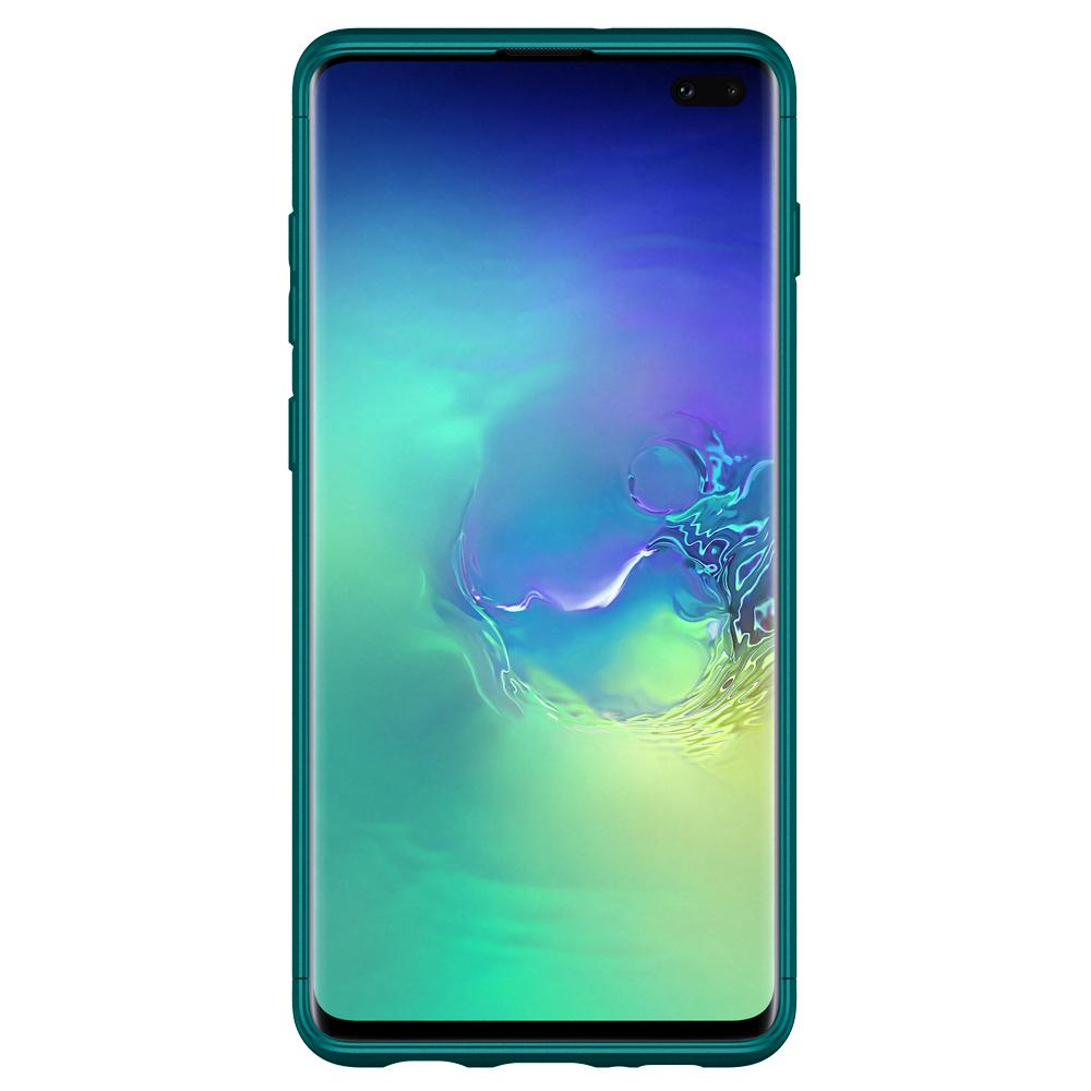 Thin Fit Classic	Green Case	showing a front facing view of the edges around the	Galaxy S10+	device.