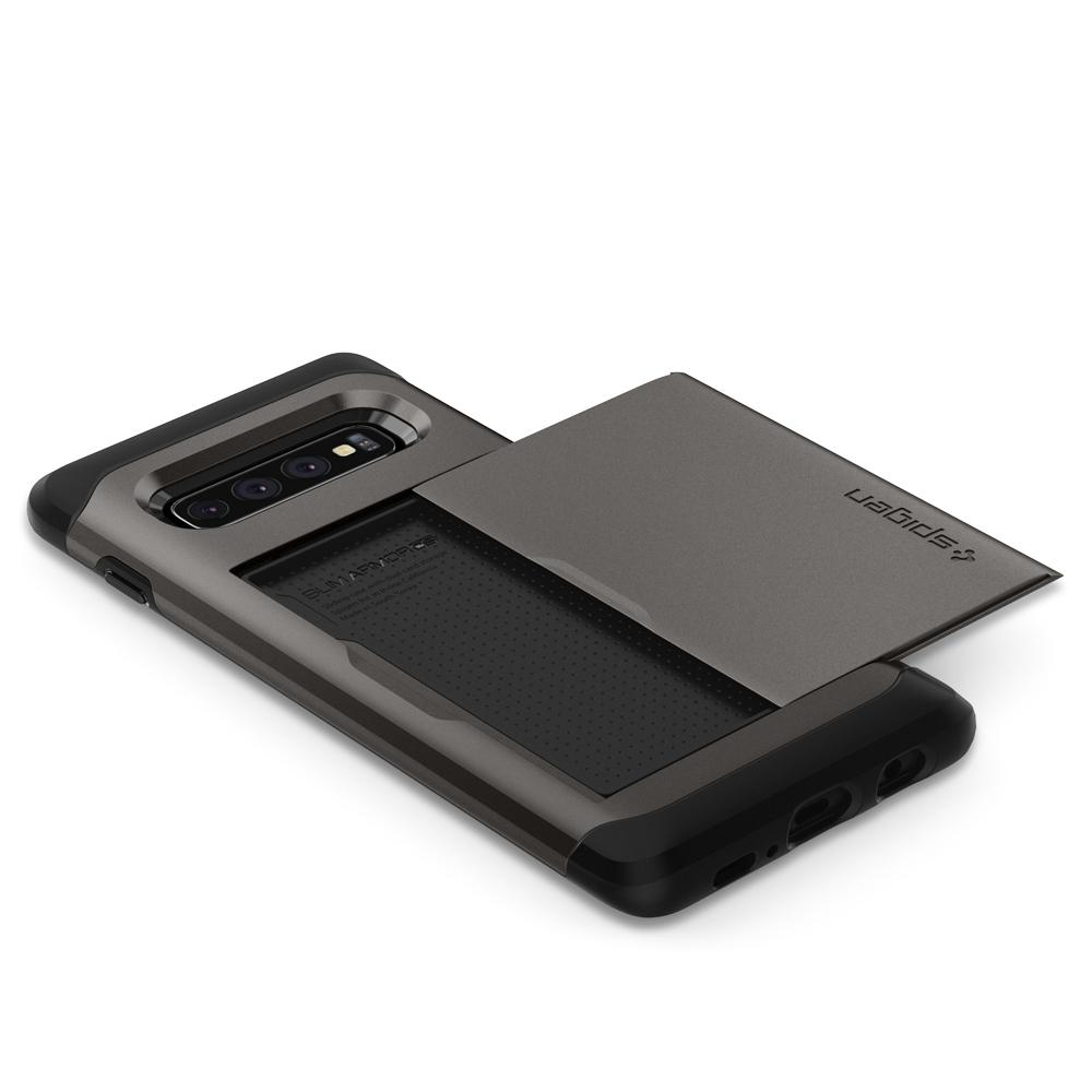 Slim Armor CS	Gunmetal	Case	showing the back design on the	Galaxy S10	device.