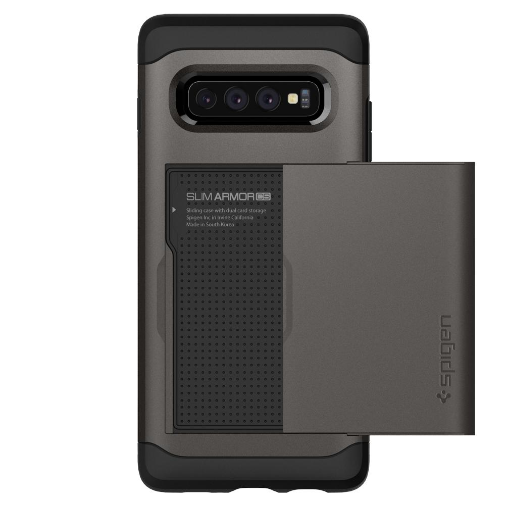 Slim Armor CS	Gunmetal	Case	facing backwards showing the back design with the camera cutout on the	Galaxy S10	device.