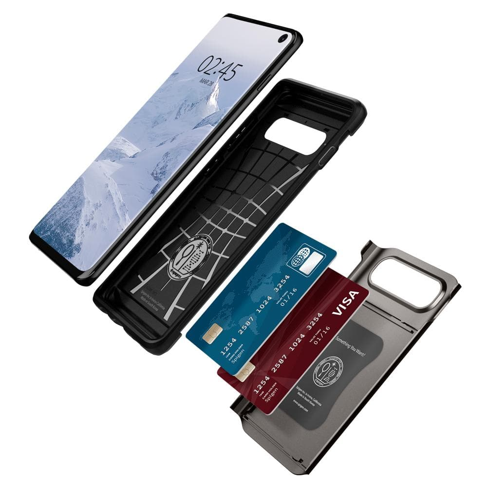 Slim Armor CS	Gunmetal	Case	separated showing the outer PC layer, the inner TPU layer, cards, and the	Galaxy S10	device.