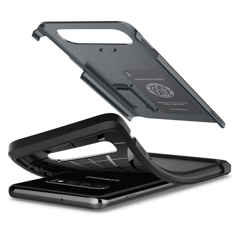 Tough Armor	Graphite Gray Case	separated showing the outer PC layer, the inner TPU layer, and the	Galaxy S10	device.
