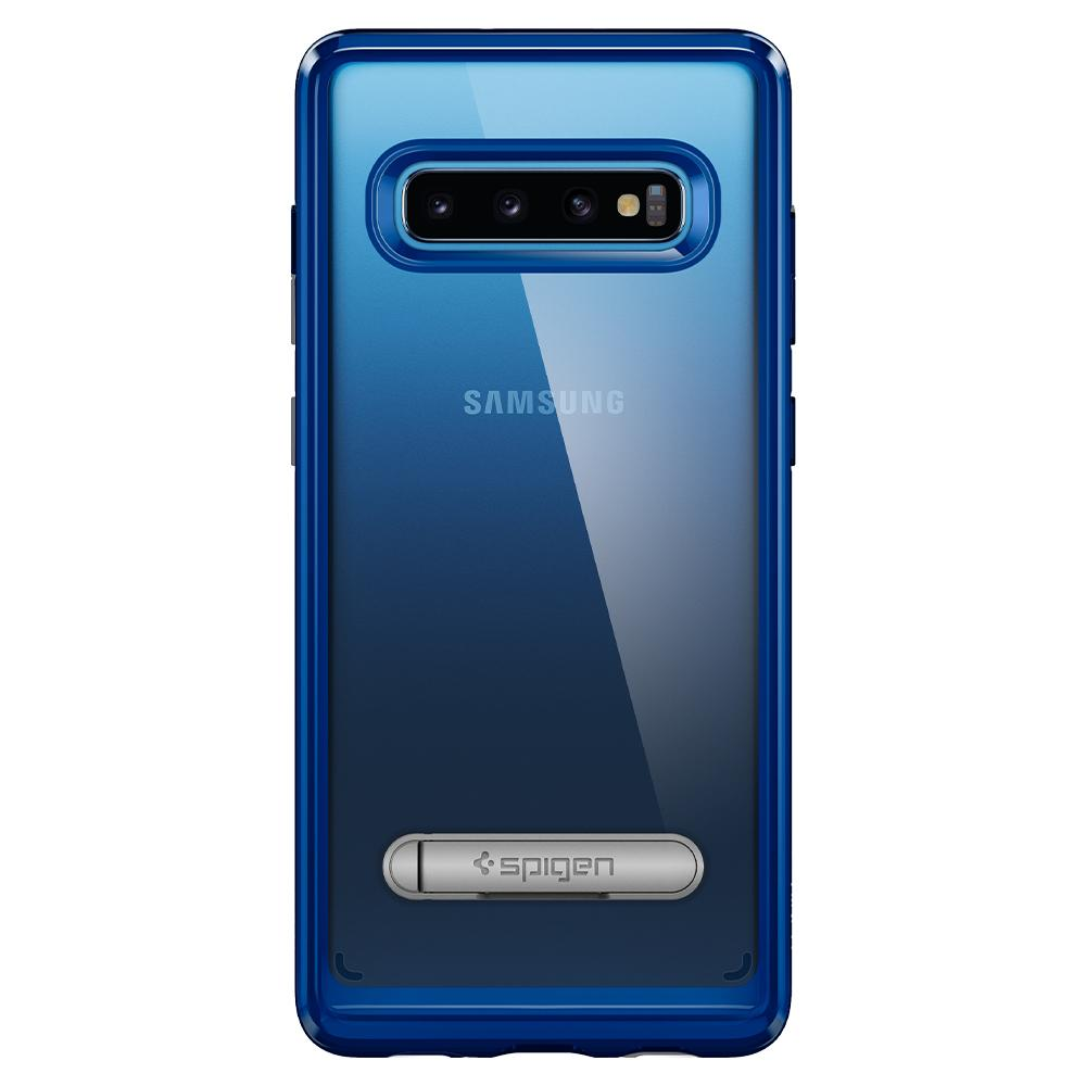 Ultra Hybrid S	Prism Blue	Case	facing backwards showing the back design with the camera cutout on the	Galaxy S10	device.