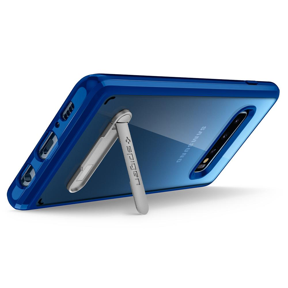 Ultra Hybrid S	Prism Blue	Case	angled backwards showing the back design focusing on the kickstand feature	Galaxy S10	device.
