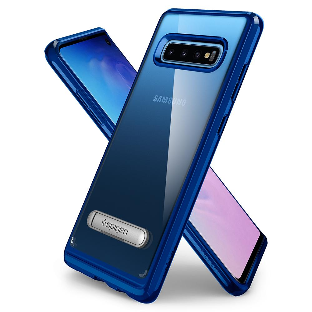 Ultra Hybrid S	Prism Blue	Case	back design overlapping the front view of the	Galaxy S10	device.