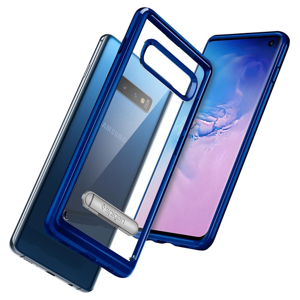 Ultra Hybrid S	Prism Blue	Case	back design and a back and front view of the	Galaxy S10	device.