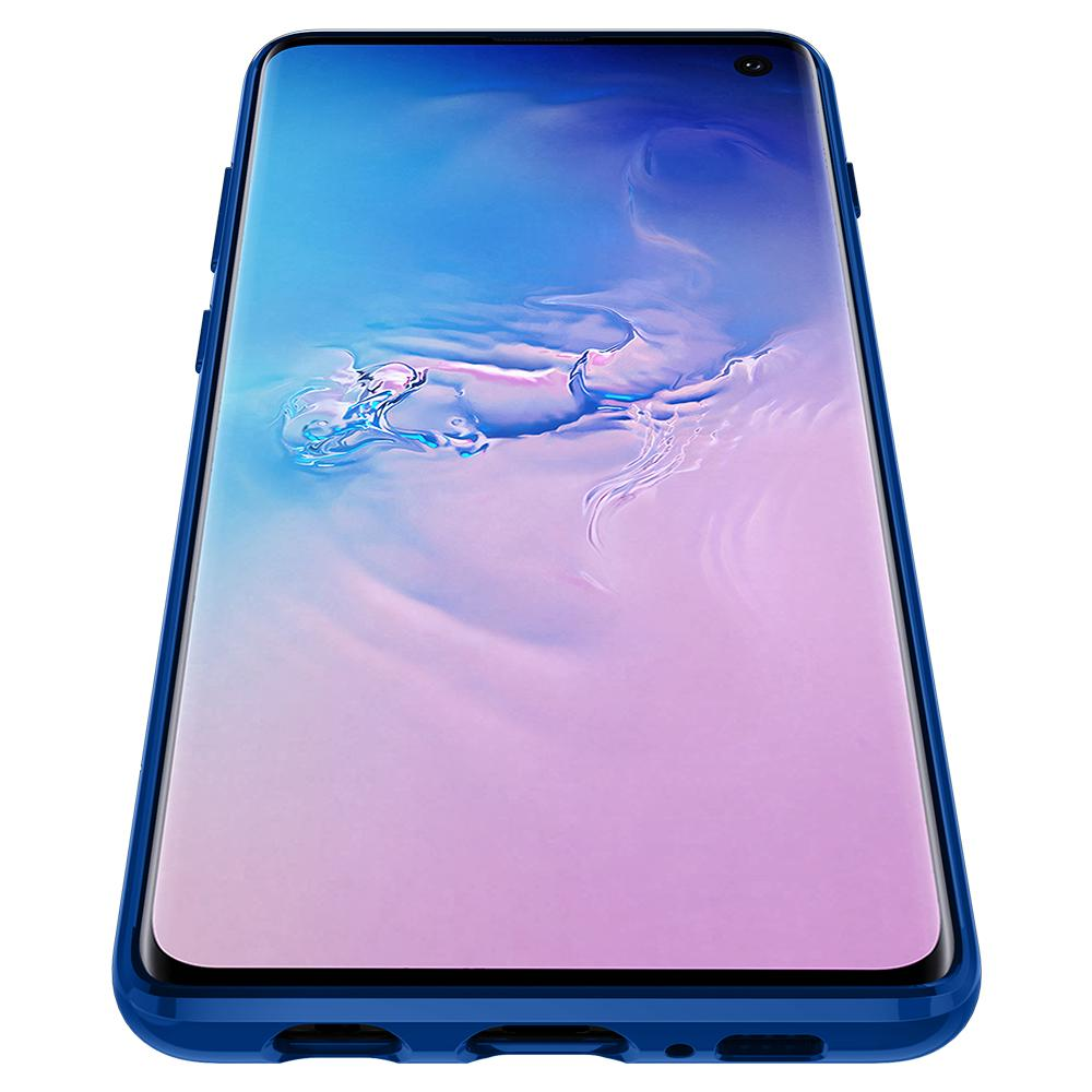 Ultra Hybrid S	Prism Blue	Case	showing a front facing view of the edges around the	Galaxy S10	device.