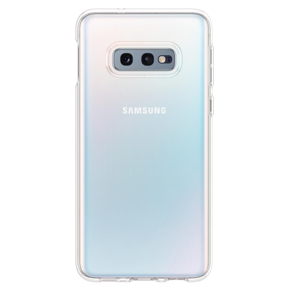 Liquid Crystal	Crystal Clear	Case	facing backwards showing the back design with the camera cutout on the	Galaxy S10e	device.