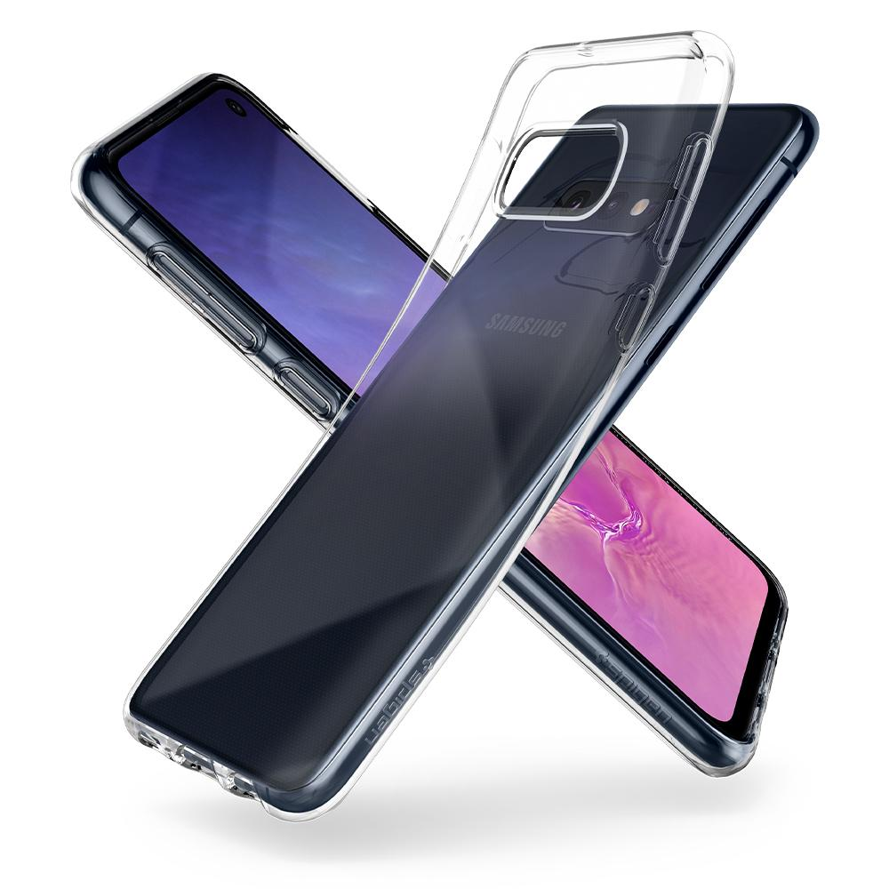 Liquid Crystal	Crystal Clear	Case	back design overlapping the front view of the	Galaxy S10e	device.