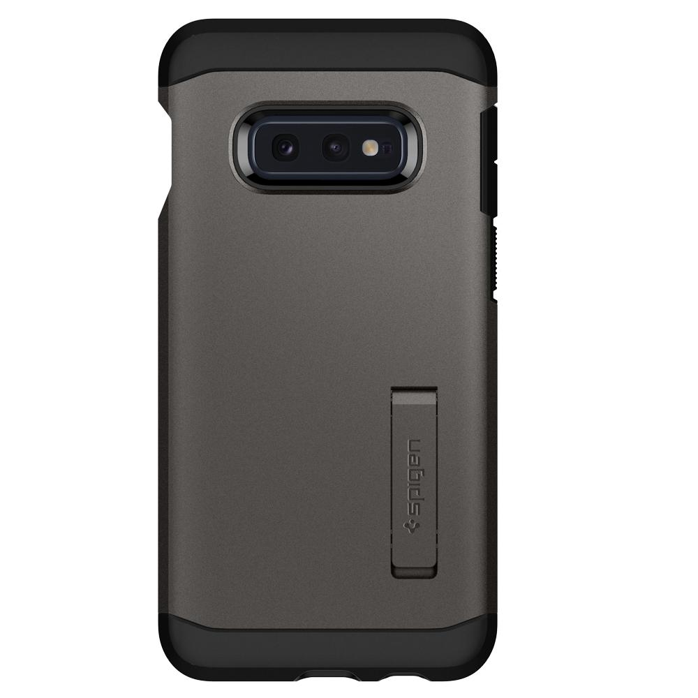 Tough Armor	Gunmetal	Case	facing backwards showing the back design with the camera cutout on the	Galaxy S10e	device.