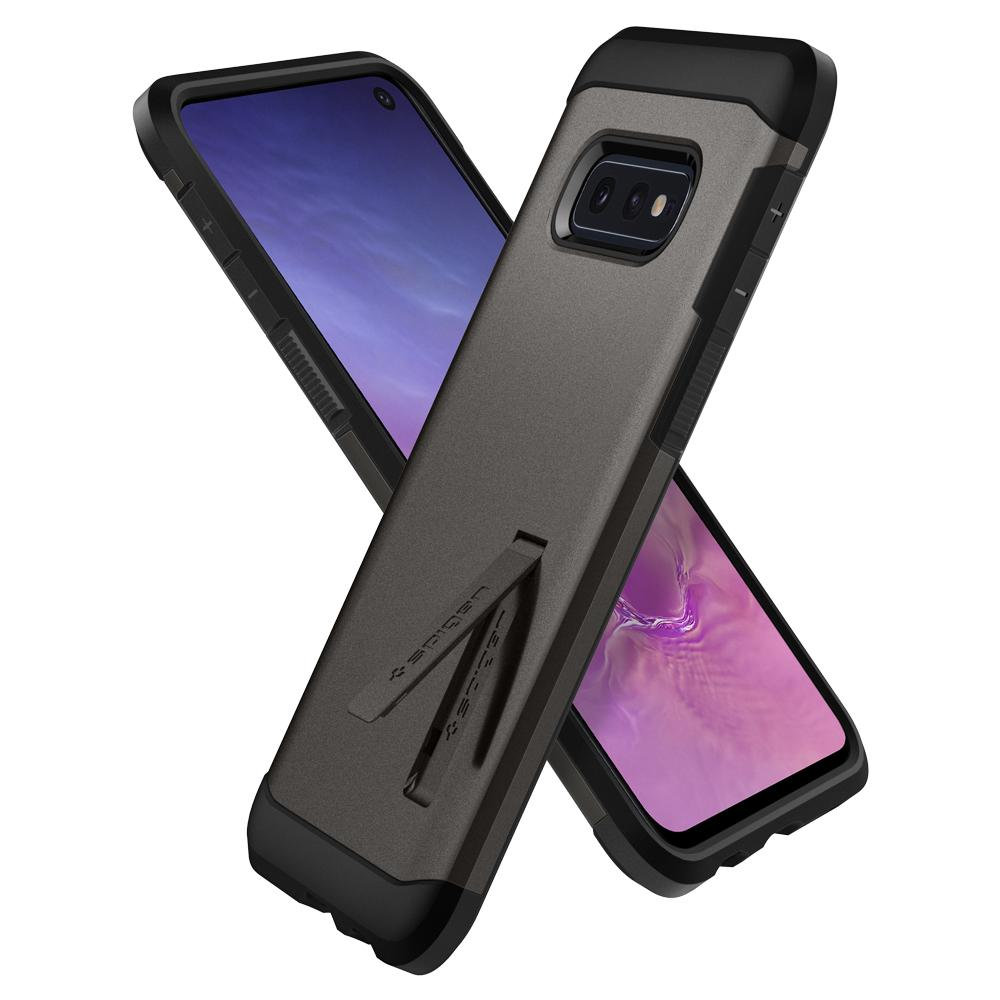 Tough Armor	Gunmetal	Case	back design overlapping the front view of the	Galaxy S10e	device.