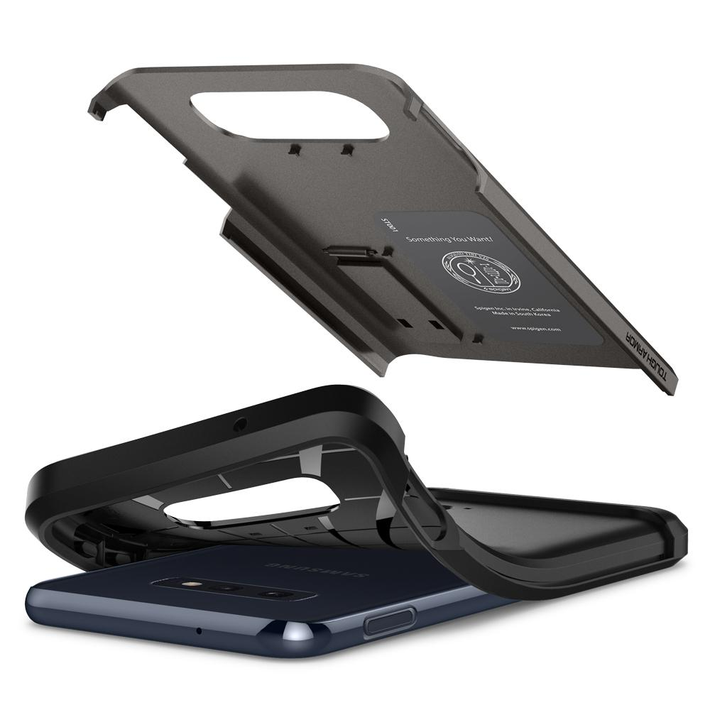 Tough Armor	Gunmetal	Case	separated showing the outer PC layer, the inner TPU layer, and the	Galaxy S10e	device.