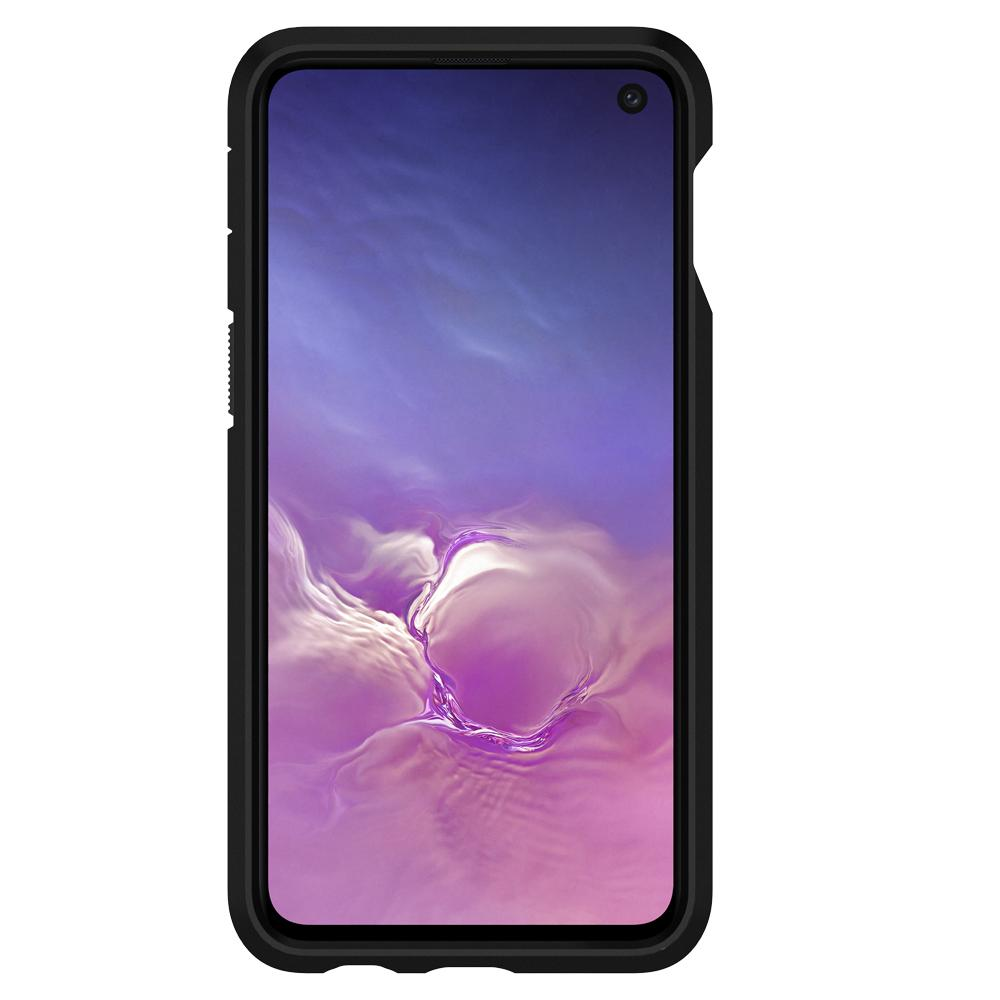 Tough Armor	Gunmetal	Case	showing a front facing view of the edges around the	Galaxy S10e	device.