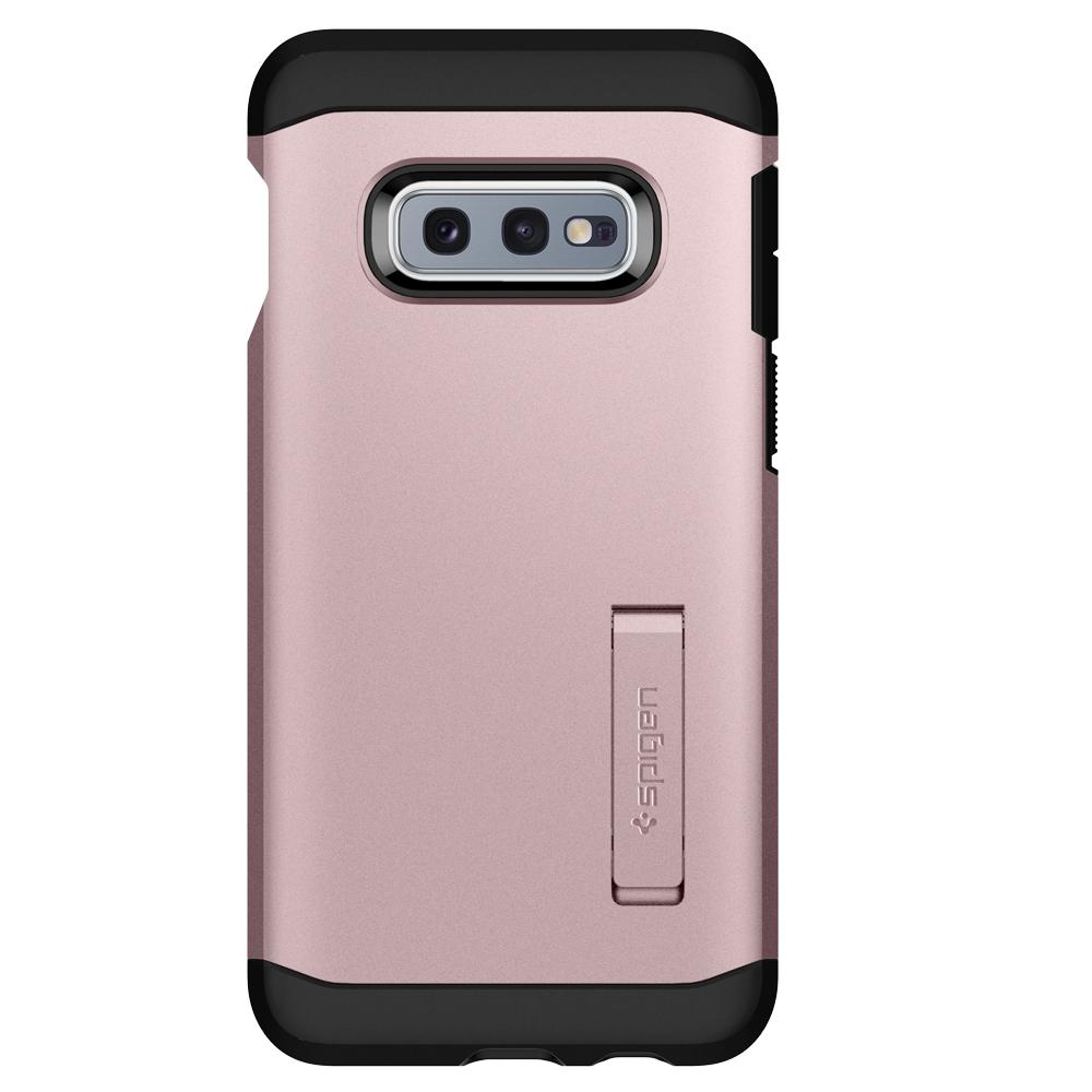 Tough Armor	Rose Gold Case	facing backwards showing the back design with the camera cutout on the	Galaxy S10e	device.