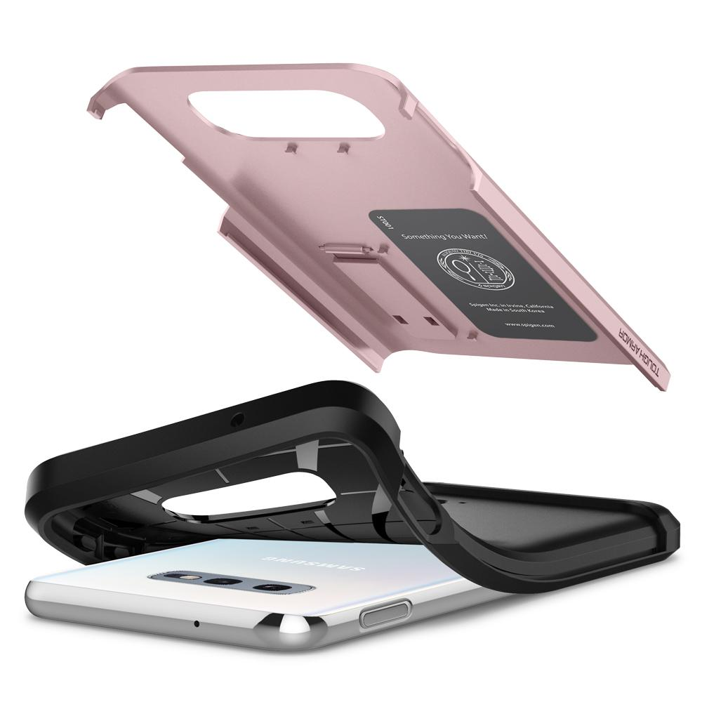 Tough Armor	Rose Gold Case	separated showing the outer PC layer, the inner TPU layer, and the	Galaxy S10e	device.