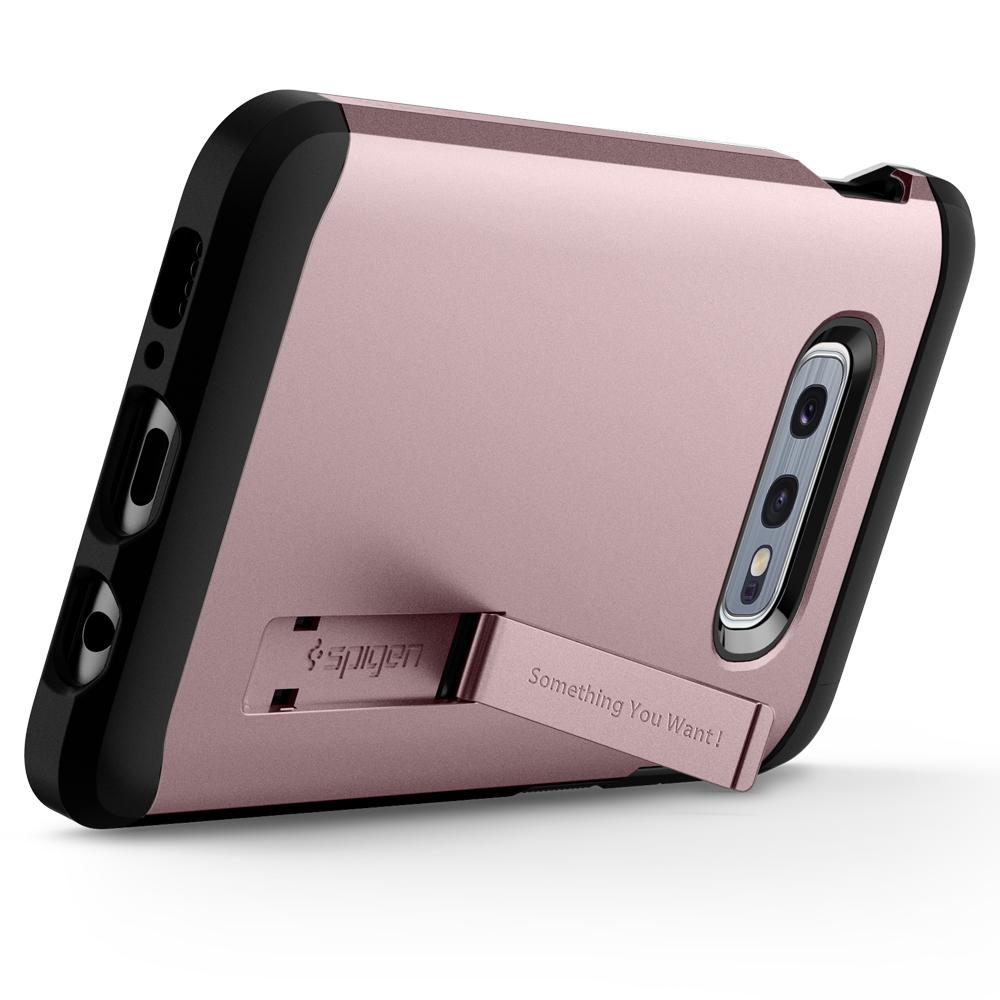 Tough Armor	Rose Gold Case	angled backwards showing the back design focusing on the kickstand feature	Galaxy S10e	device.