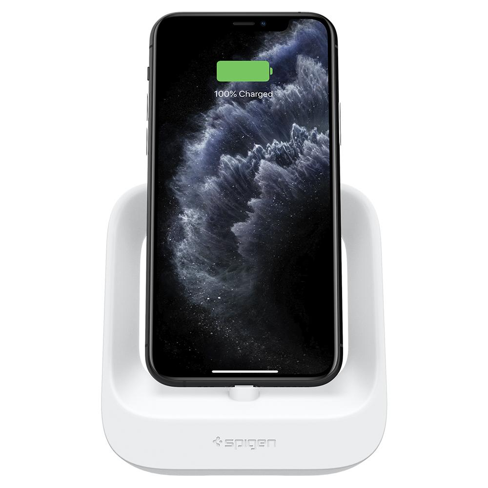 Apple 2-in-1 Stand S316 in white showing the front with iPhone charging